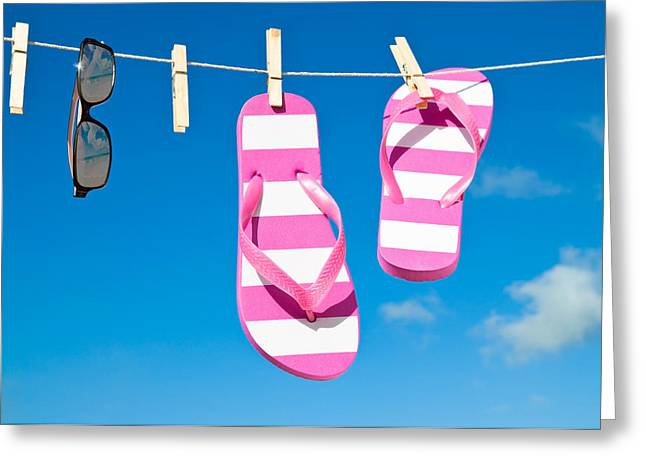 Washing Greeting Cards - Holiday Washing Line Greeting Card by Amanda And Christopher Elwell