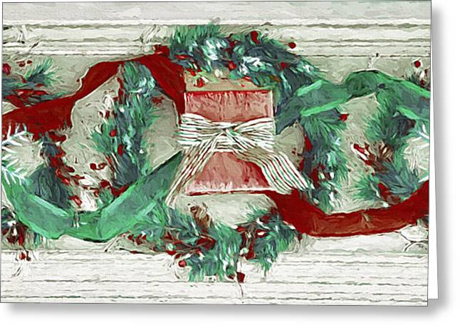 Pine Cones Mixed Media Greeting Cards - Holiday Wreathes Greeting Card by Steve Ohlsen
