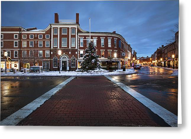 Congress Street Greeting Cards - Holidays in Portsmouth Greeting Card by Eric Gendron
