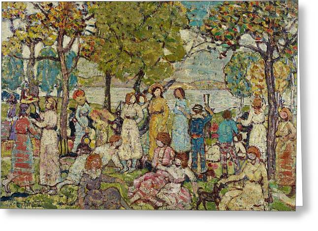 Lounge Paintings Greeting Cards - Holidays Greeting Card by Maurice Brazil Prendergast