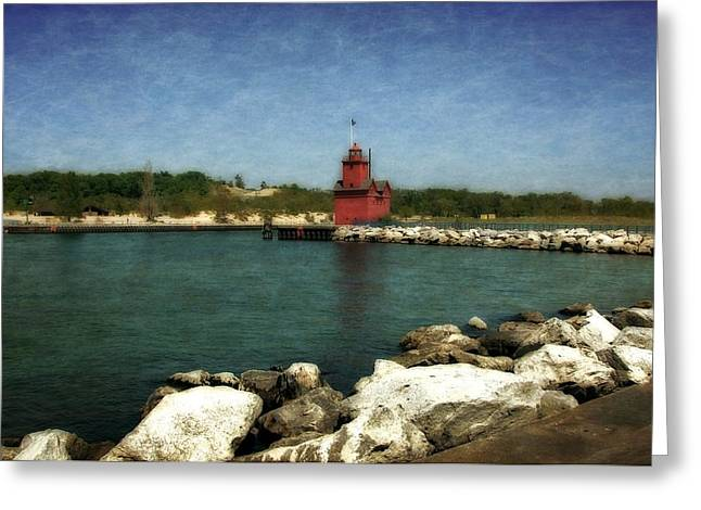 Wooden Stairs Greeting Cards - Holland Harbor Light and Breakwater Greeting Card by Michelle Calkins