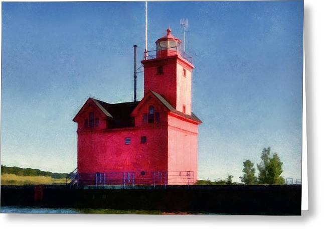 Michelle Greeting Cards - Holland Harbor Light from the Channel Greeting Card by Michelle Calkins
