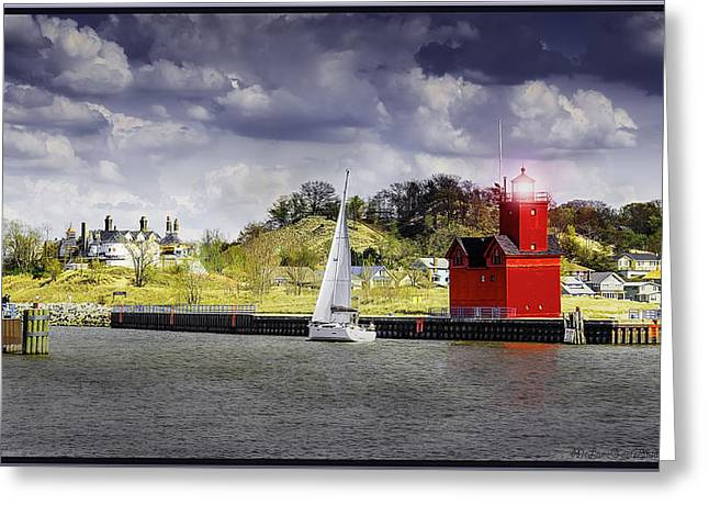 Dutch Lighthouse Greeting Cards - Holland Michigan Holland Harbor  Greeting Card by LeeAnn McLaneGoetz McLaneGoetzStudioLLCcom