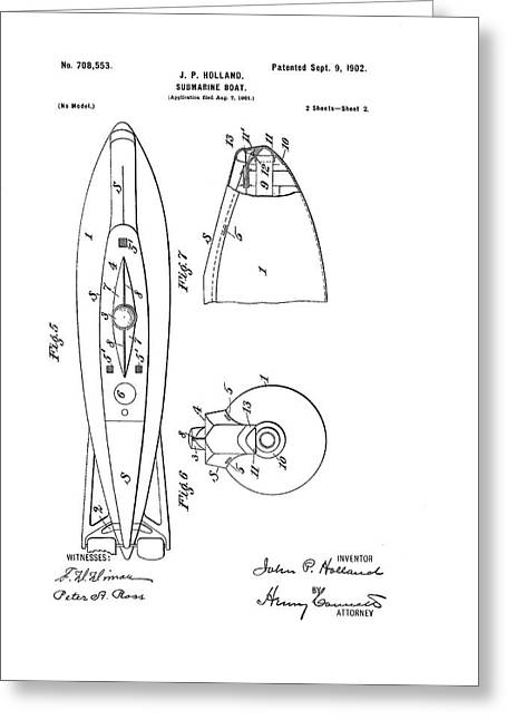 Holland Submarine Patent Greeting Card by Us National Archives