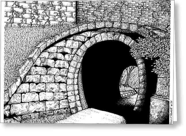 Charles River Drawings Greeting Cards - Holliston Rail Trail Tunnel Greeting Card by Conor Plunkett