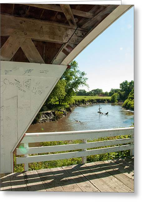 Geobob Greeting Cards - Holliwell Covered Bridge and River Winterset Madison County Iowa Greeting Card by Robert Ford