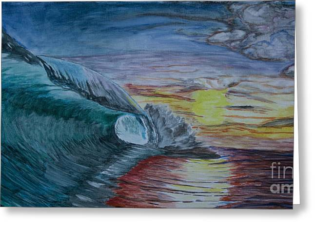 Ian Donley Greeting Cards - Hollow Wave at Sunset Greeting Card by Ian Donley