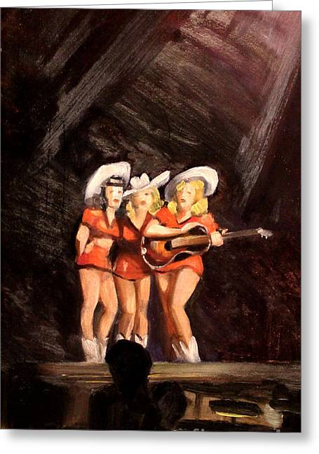 Cowgirl Skirt Greeting Cards - Holloywood Cowgirls on Stage  1940 Greeting Card by Art By Tolpo Collection