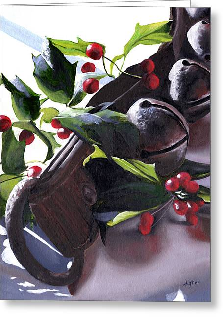 Holly Berry Still Life Greeting Cards - Holly and Bells Greeting Card by Christopher Lyter
