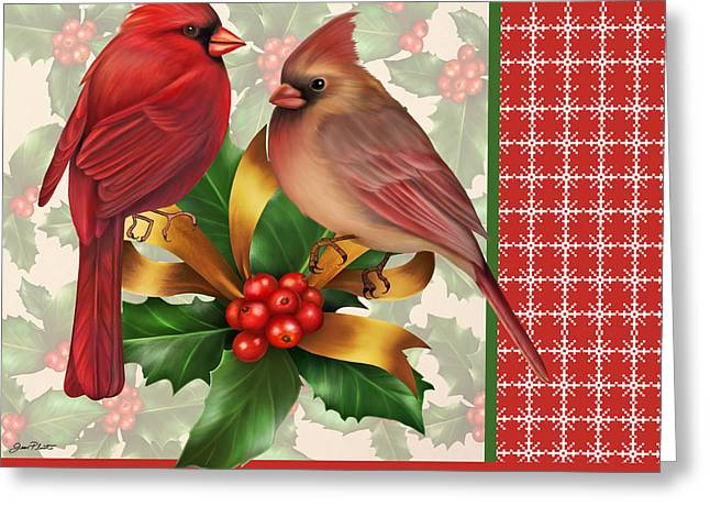 Pine Cones Digital Greeting Cards - Holly and Berries-G Greeting Card by Jean Plout