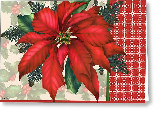 Pine Cones Digital Greeting Cards - Holly and Berries-H Greeting Card by Jean Plout
