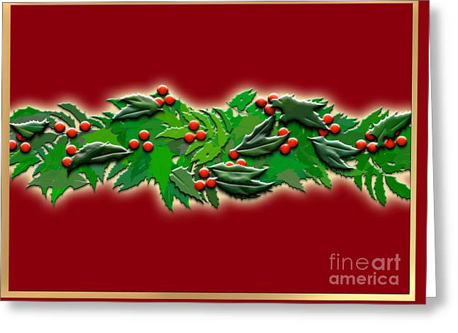 Winter Solstice Greeting Cards Greeting Cards - Holly Garland Greeting Card by Melissa A Benson