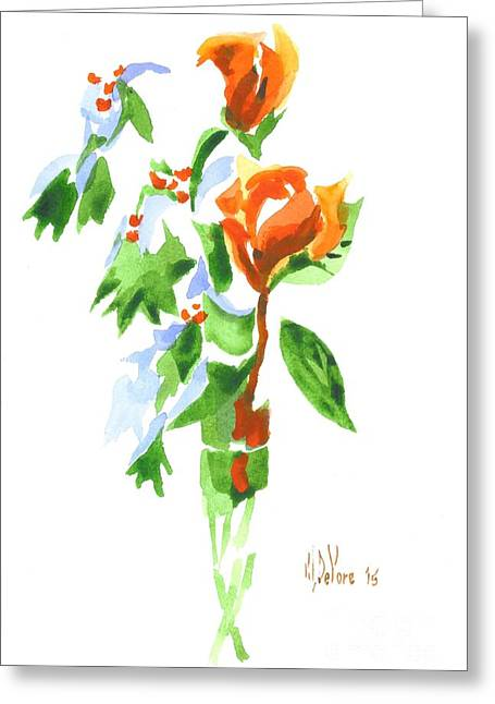 Flour Paintings Greeting Cards - Holly with Red Roses in a Vase Greeting Card by Kip DeVore