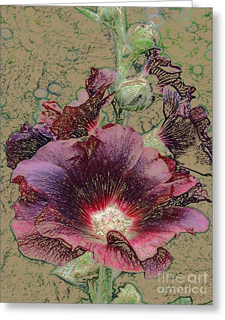Red Wine Prints Greeting Cards - Hollyhock in Burgundy Greeting Card by Maureen Tillman
