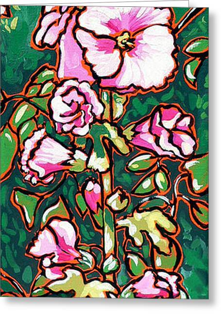 Nadi Spencer Greeting Cards - Hollyhock Greeting Card by Nadi Spencer