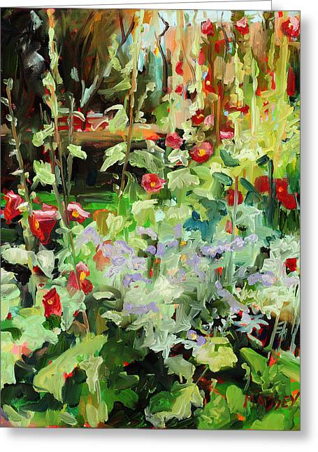 Hollyhocks Greeting Cards - Hollyhock Sundance Greeting Card by Marie Massey