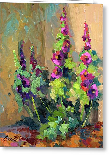 Hollyhocks Greeting Cards - Hollyhocks at Giverny Greeting Card by Diane McClary