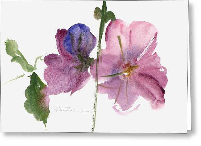 Contemporary Art Paintings Greeting Cards - Hollyhocks Greeting Card by Claudia Hutchins-Puechavy