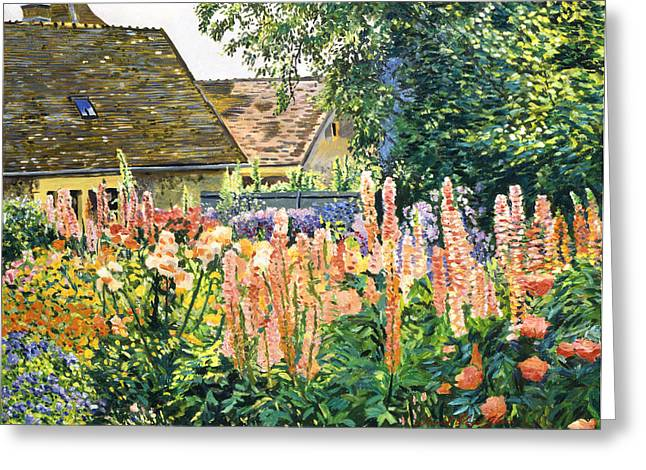 Shingles Greeting Cards - Hollyhocks Garden Greeting Card by David Lloyd Glover