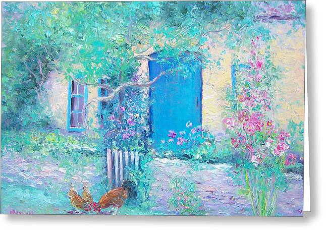 Country Cottage Greeting Cards - Hollyhocks garden Greeting Card by Jan Matson