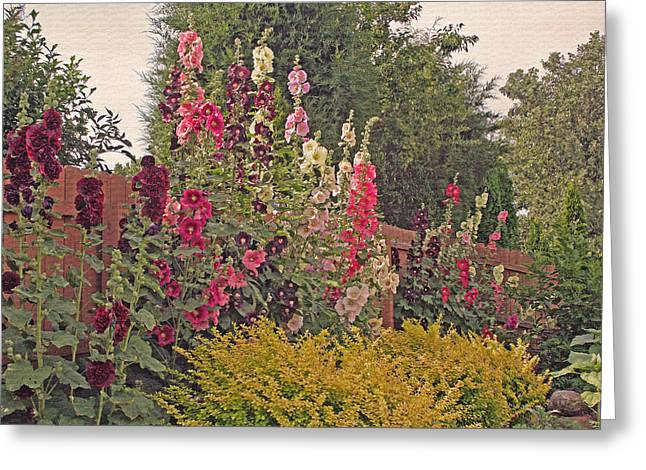 Hollyhocks Greeting Card by Kay Novy