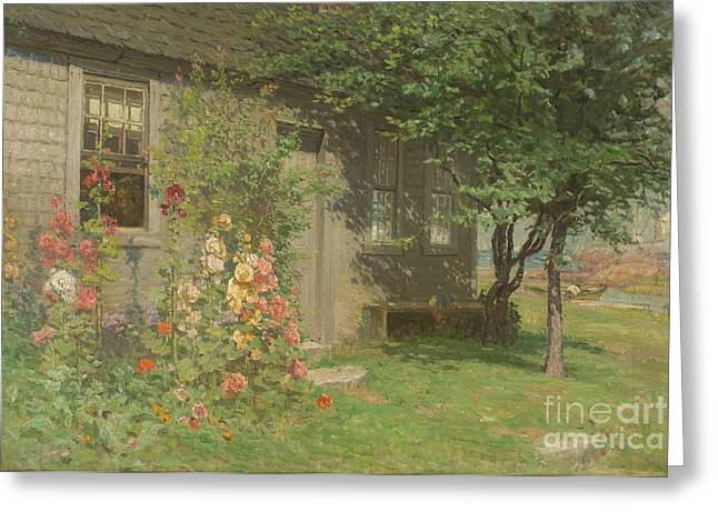 Hollyhocks Greeting Cards - Hollyhocks Nantucket Greeting Card by John Joseph Enneking