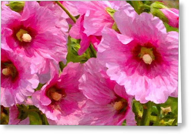 Blossom Greeting Cards - Hollyhocks self-seeded Greeting Card by Lanjee Chee