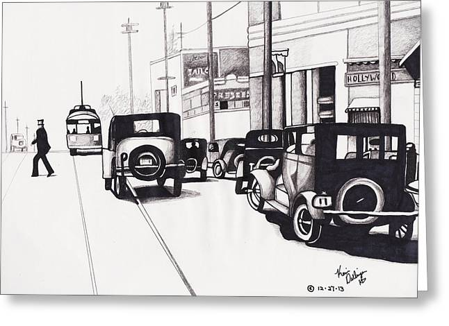 Classic Hollywood Drawings Greeting Cards - Hollywood 1920s Greeting Card by Kevin Dellinger