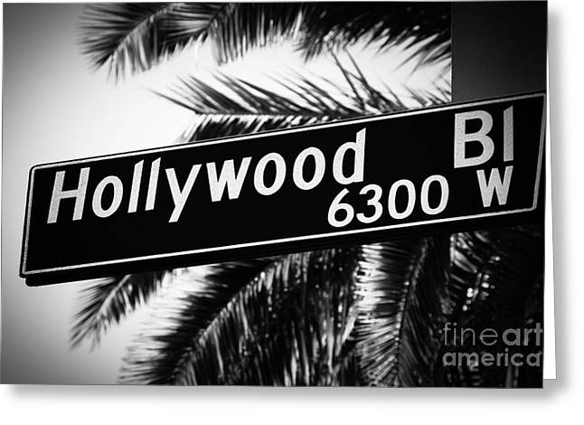 Photo Southern Greeting Cards - Hollywood Boulevard Street Sign in Black and White Greeting Card by Paul Velgos