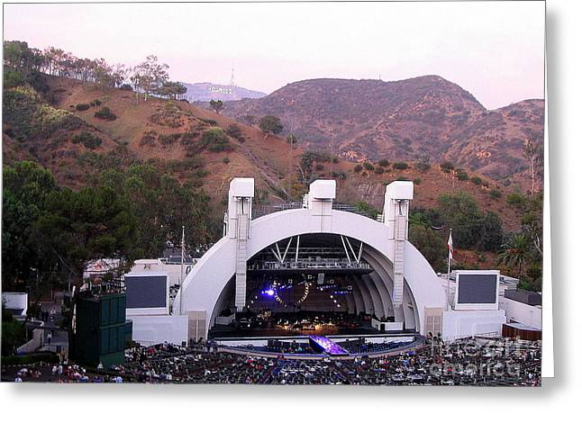 Hollywood Bowl Greeting Cards - Hollywood Bowl and Hollywood Sign Greeting Card by Marie Sager