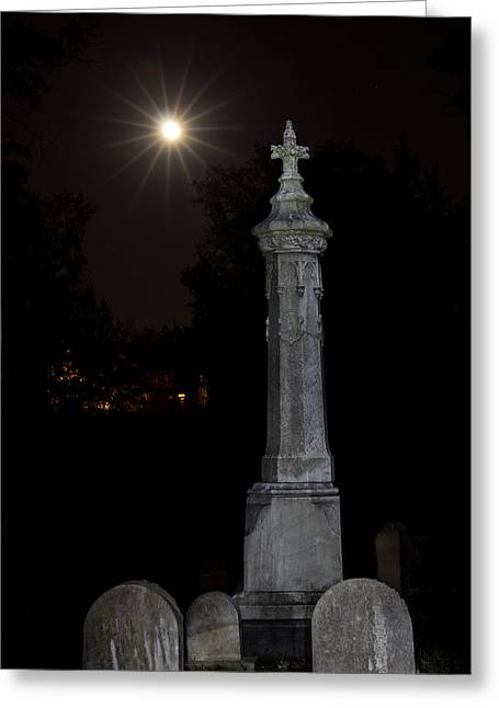 Confederate Monument Greeting Cards - Hollywood Cemetery Moon Rise Greeting Card by Jemmy Archer