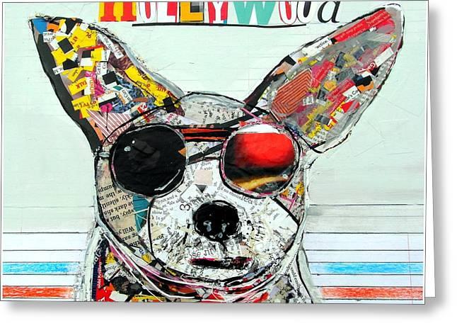 Dog Art Mixed Media Greeting Cards - Hollywood Chihuahua Greeting Card by Bri Buckley
