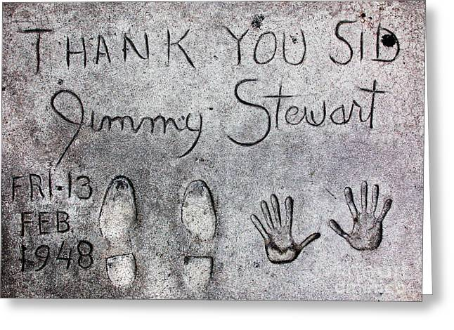 Vertigo Greeting Cards - Hollywood Chinese Theatre Jimmy Stewart 5D29018 Greeting Card by Wingsdomain Art and Photography