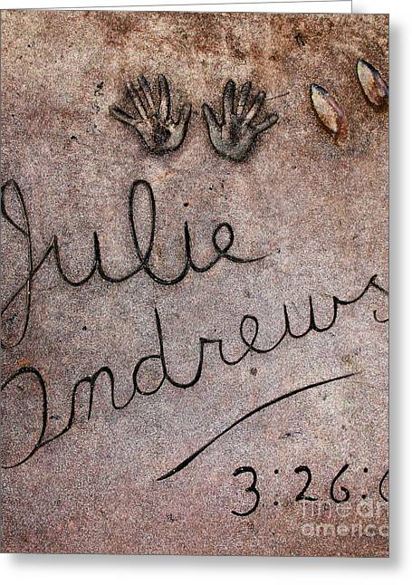 Musical Film Greeting Cards - Hollywood Chinese Theatre Julie Andrews 5D28999 Greeting Card by Wingsdomain Art and Photography