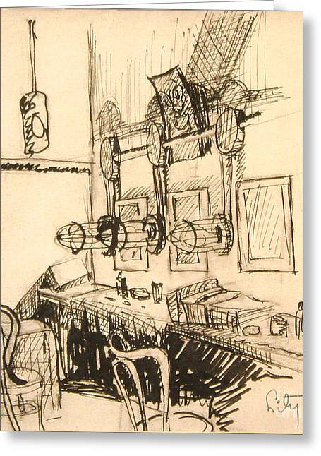 Table And Chairs Drawings Greeting Cards - Hollywood Cowgirls Dressing Room - 1939 Greeting Card by Art By Tolpo Collection