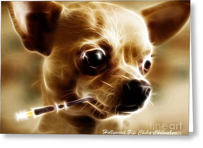 Taco Bell Chihuahua Greeting Cards - Hollywood Fifi Chika Chihuahua - Electric Art - With Text Greeting Card by Wingsdomain Art and Photography