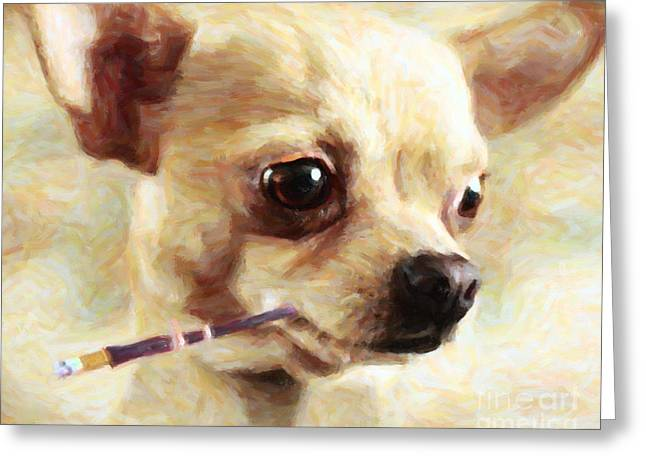 Chinese Dogs Greeting Cards - Hollywood Fifi Chika Chihuahua - Painterly Greeting Card by Wingsdomain Art and Photography