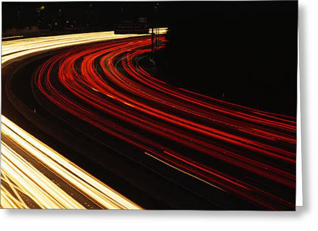 Los Angeles Freeways Greeting Cards - Hollywood Freeway At Night Ca Greeting Card by Panoramic Images