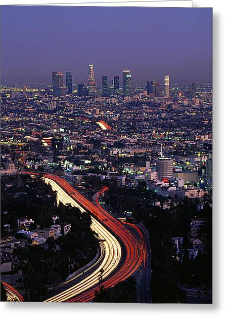 Los Angeles Freeways Greeting Cards - Hollywood Freeway Los Angeles Ca Greeting Card by Panoramic Images