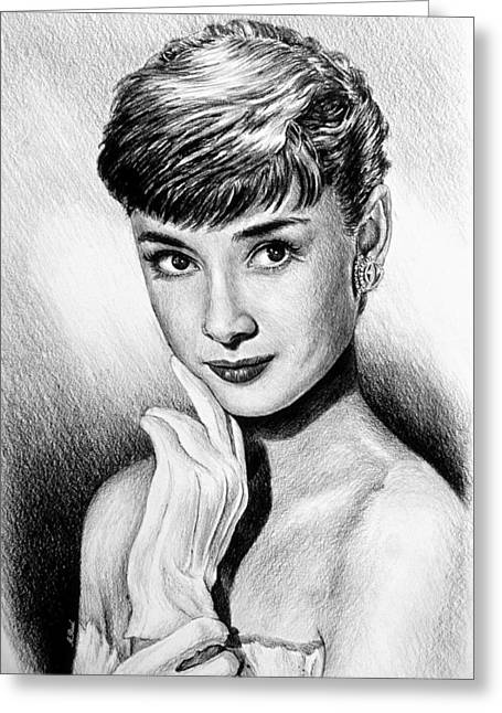 Famous Person Drawings Greeting Cards - Hollywood Greats Hepburn Greeting Card by Andrew Read