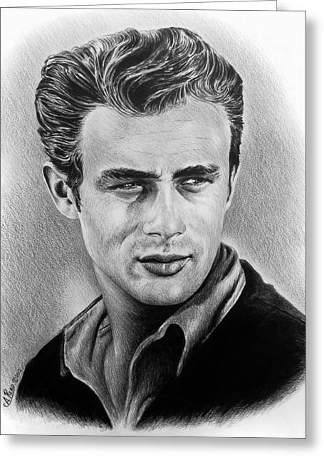 Graphite Art Drawings Greeting Cards - Hollywood greats James Dean Greeting Card by Andrew Read