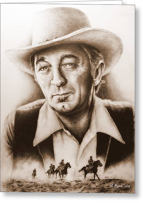 Original Cowboy Greeting Cards - Hollywood Greats Mitchum Greeting Card by Andrew Read