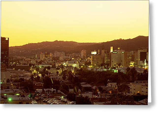 Colorful Photography Greeting Cards - Hollywood Hills, Hollywood, California Greeting Card by Panoramic Images