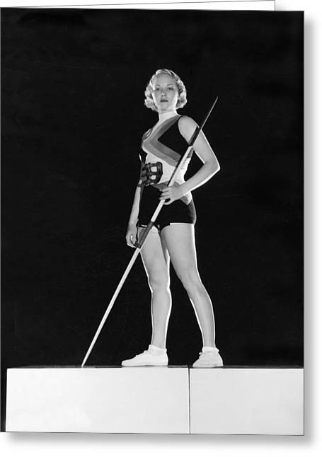 Hollywood Javelin Thrower Greeting Card by Clarence Sinclair Bull