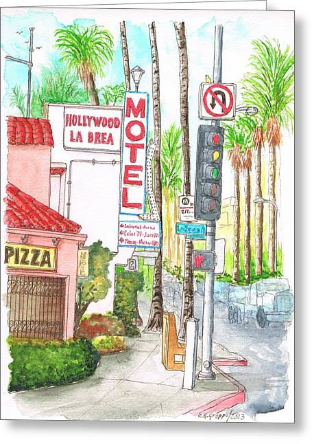 Architecrure Greeting Cards - Hollywood-La Brea Motel in Hollywood - California Greeting Card by Carlos G Groppa