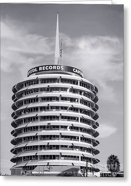 Tinsel Greeting Cards - Hollywood Landmarks - Capital Records Greeting Card by Art Block Collections