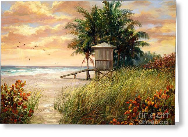Birds And Flowers Greeting Cards - Hollywood Life Guard Hut Greeting Card by Laurie Hein