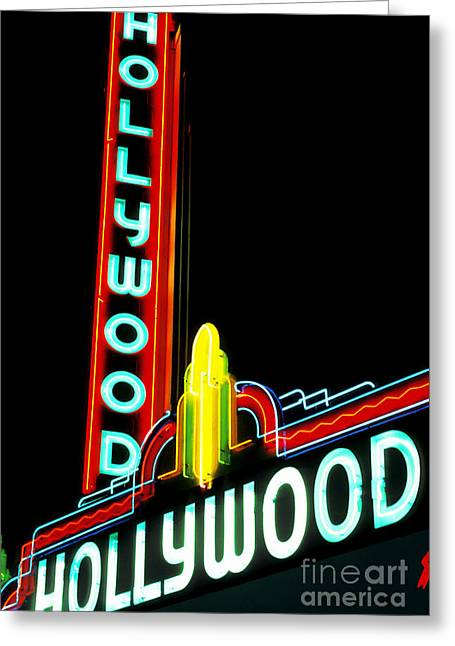 Illuminates Greeting Cards - Hollywood Movie Theater Greeting Card by Spencer Grant