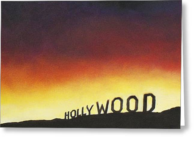 Hollywood On Fire Greeting Card by Christine  Webb