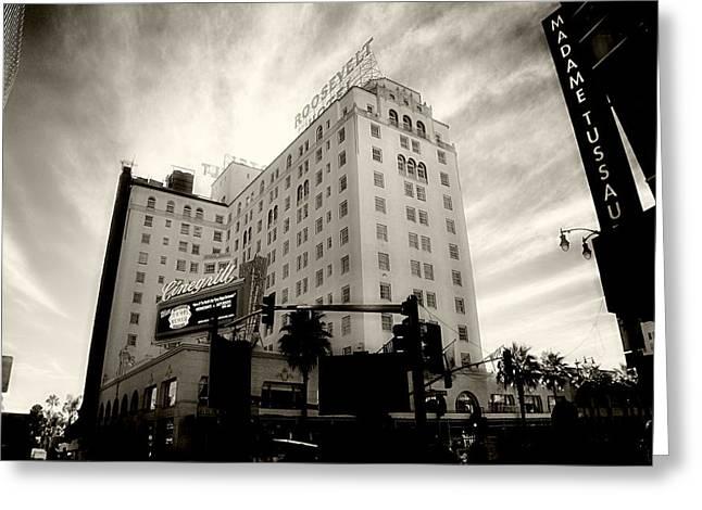Cindy Nunn Greeting Cards - Hollywood Roosevelt Hotel 5 Greeting Card by Cindy Nunn
